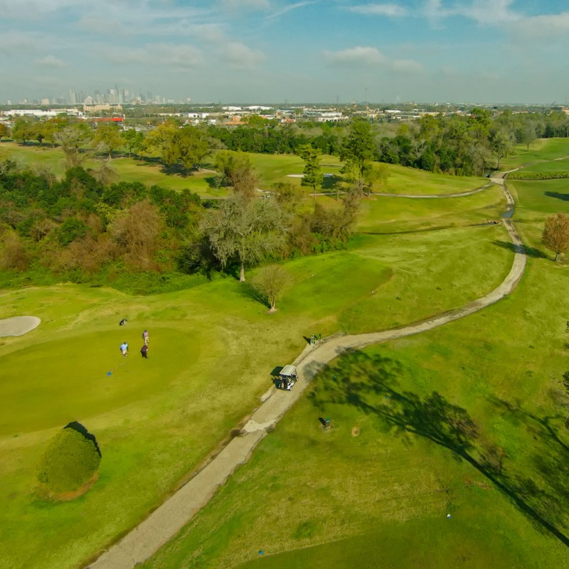 Aerial View of Golf Course with Houston Skyline in Background